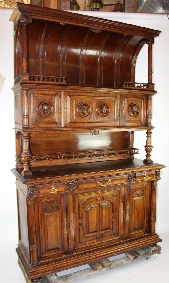 French Mannerist hooded buffet in walnut - 2