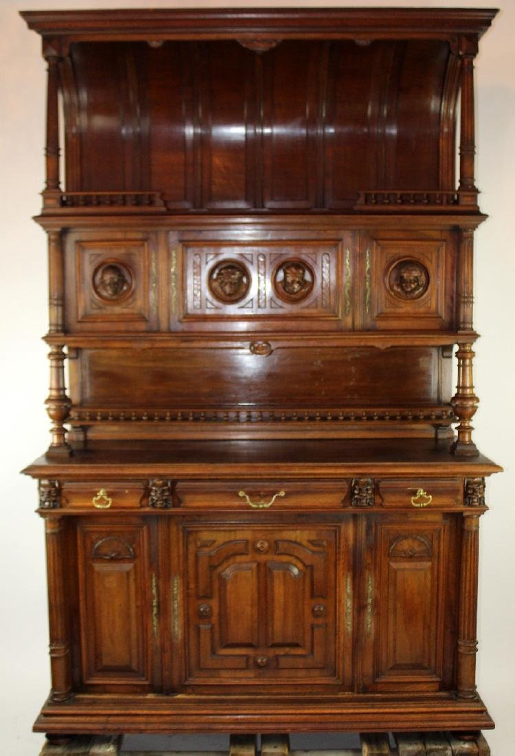 French Mannerist hooded buffet in walnut - 3