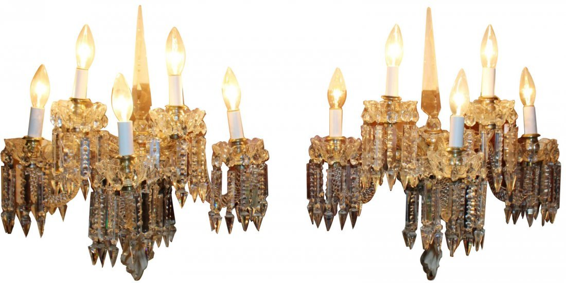 Pair of antique Italian crystal wall sconces