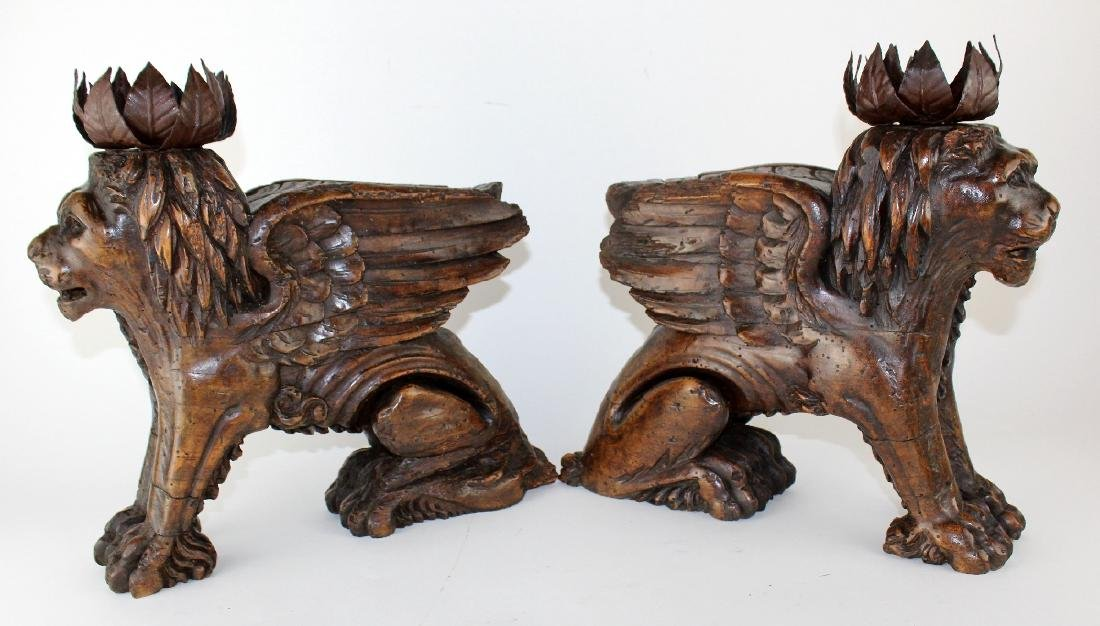 Pair of antique carved San Marco lions - 3