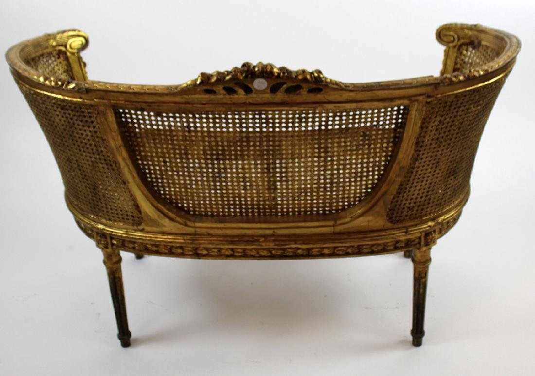 Louis XVI style caned settee - 2