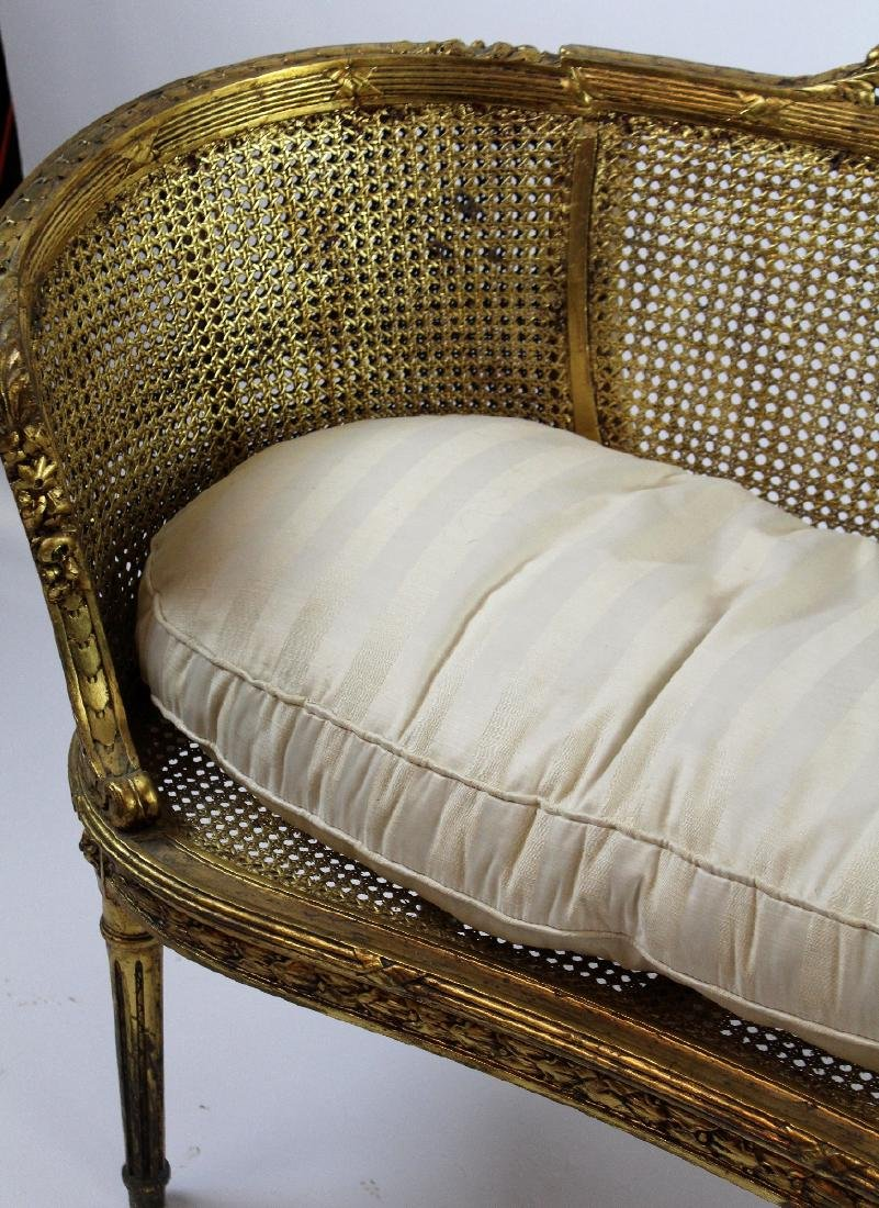 Louis XVI style caned settee - 4