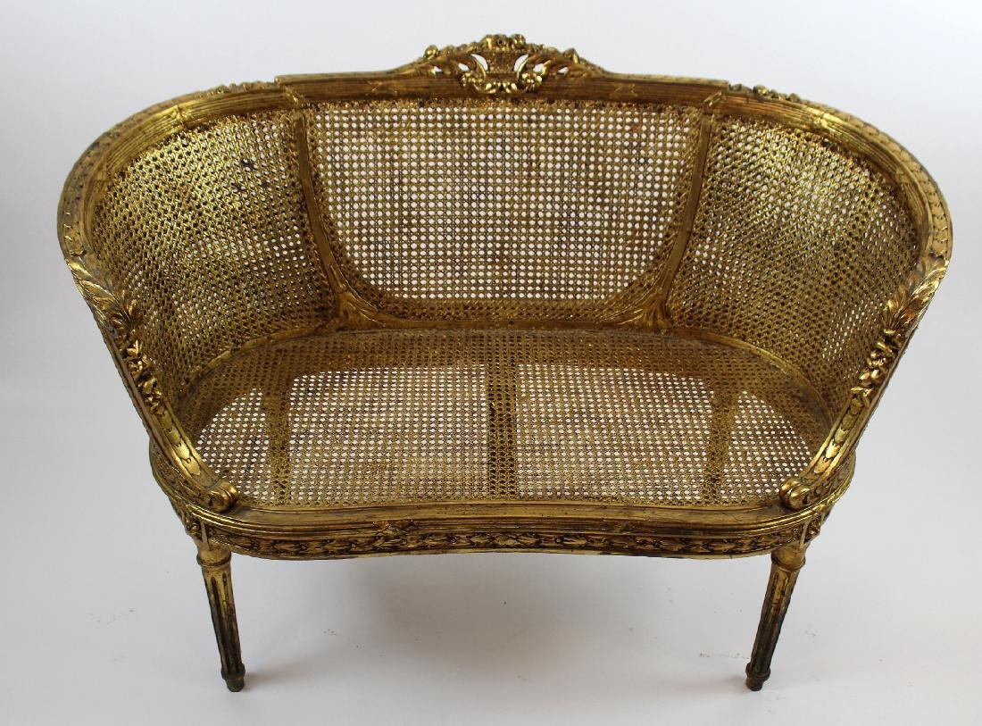 Louis XVI style caned settee - 5