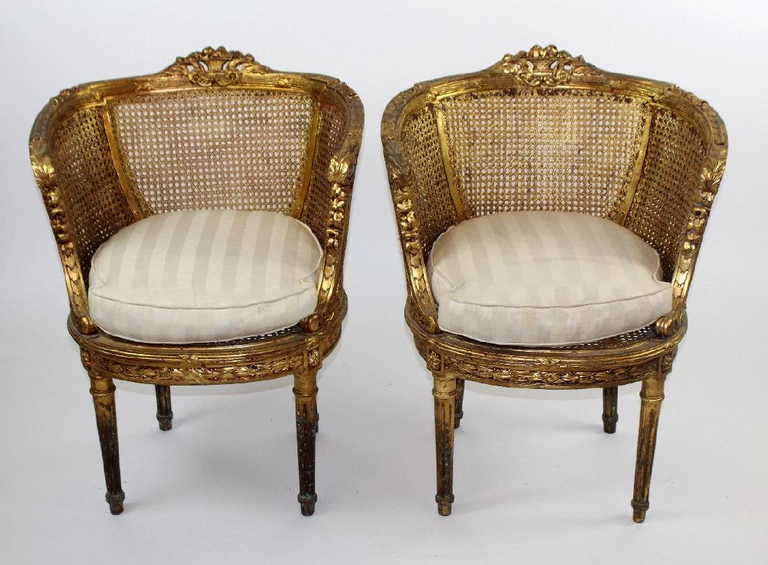 Pair of Louis XVI style barrel back chairs