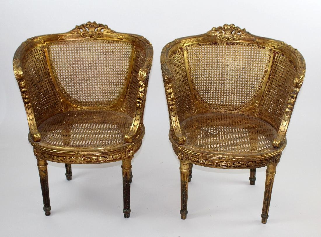 Pair of Louis XVI style barrel back chairs - 3