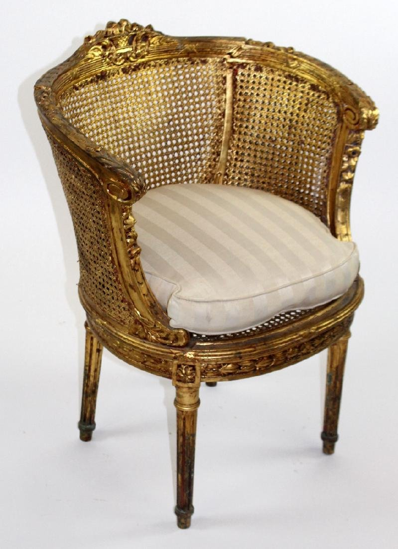 Pair of Louis XVI style barrel back chairs - 4