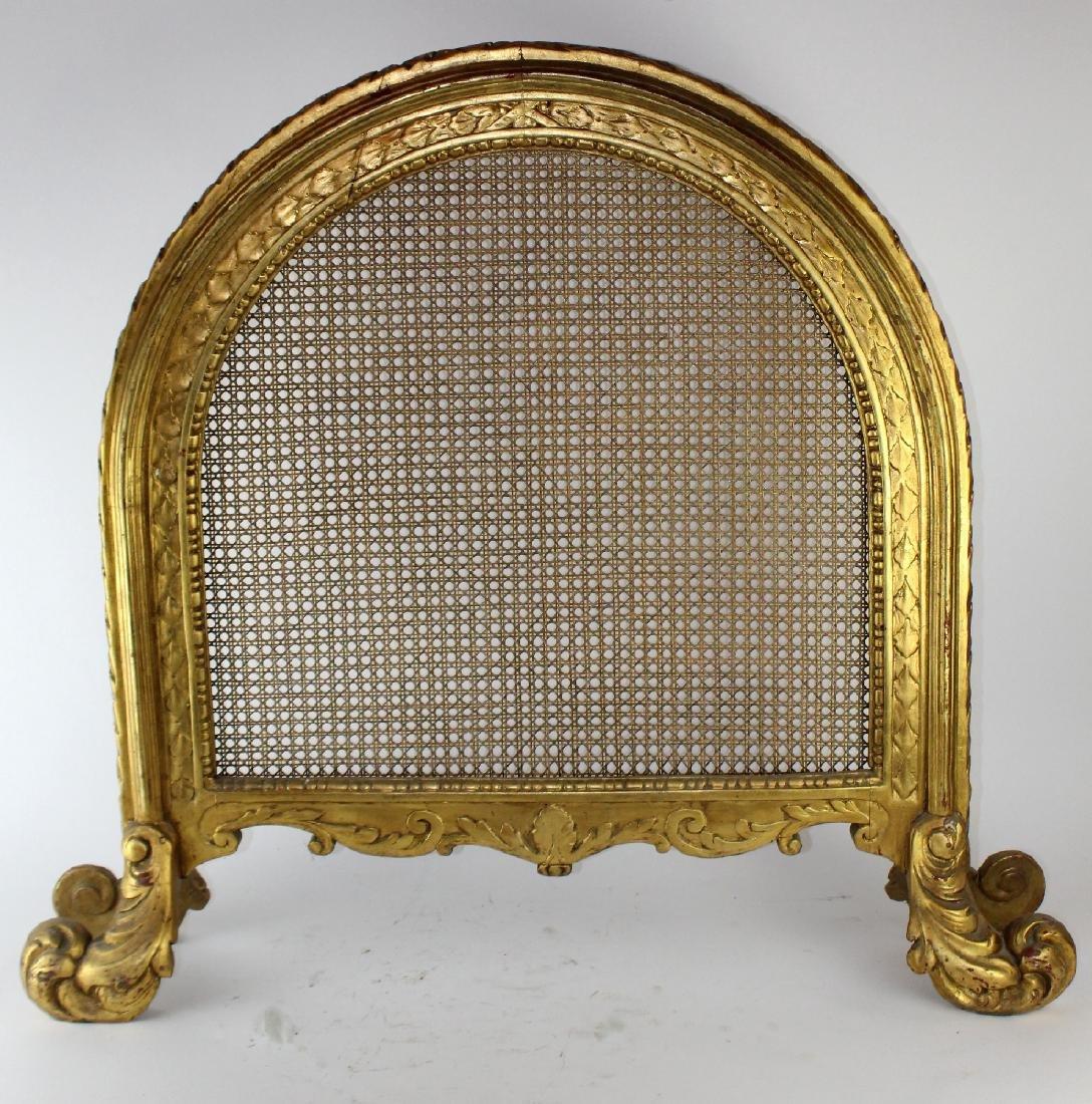 Louis XVI style caned firescreen