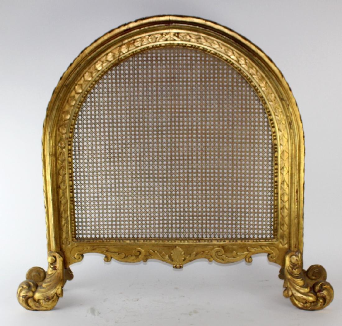 Louis XVI style caned firescreen - 3