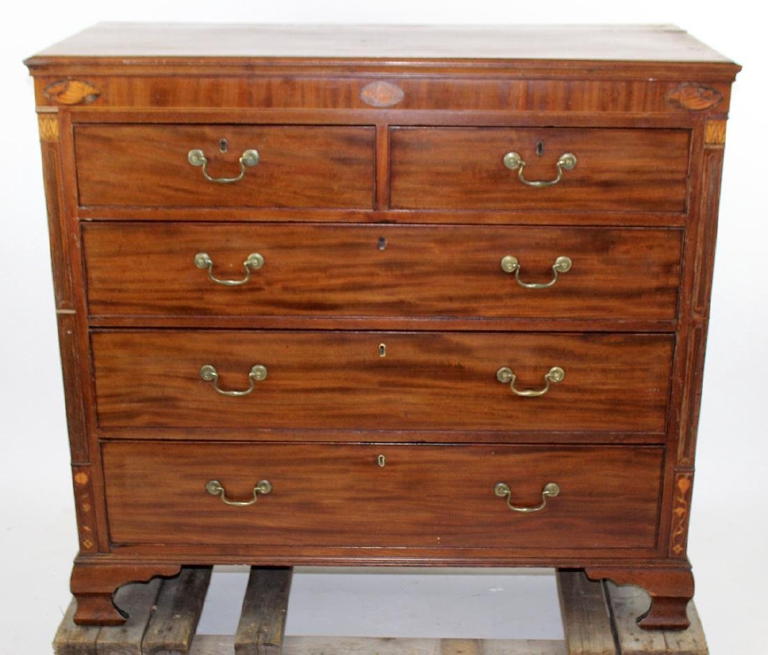 English 2 over 3 mahogany chest