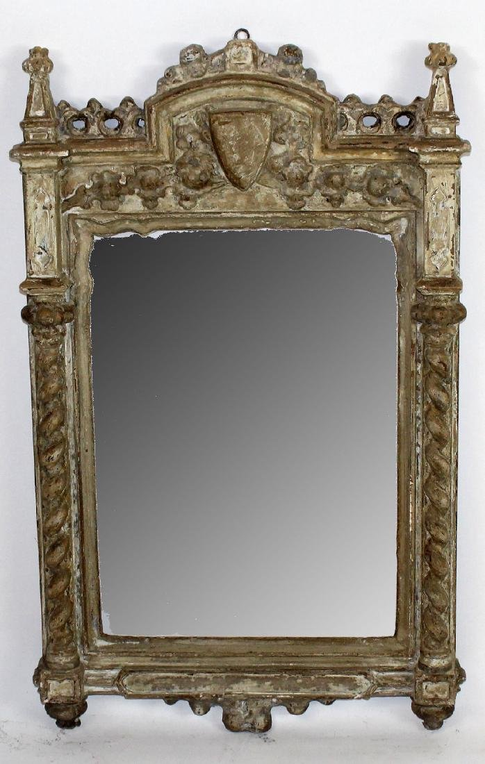 Italian carved and painted mirror