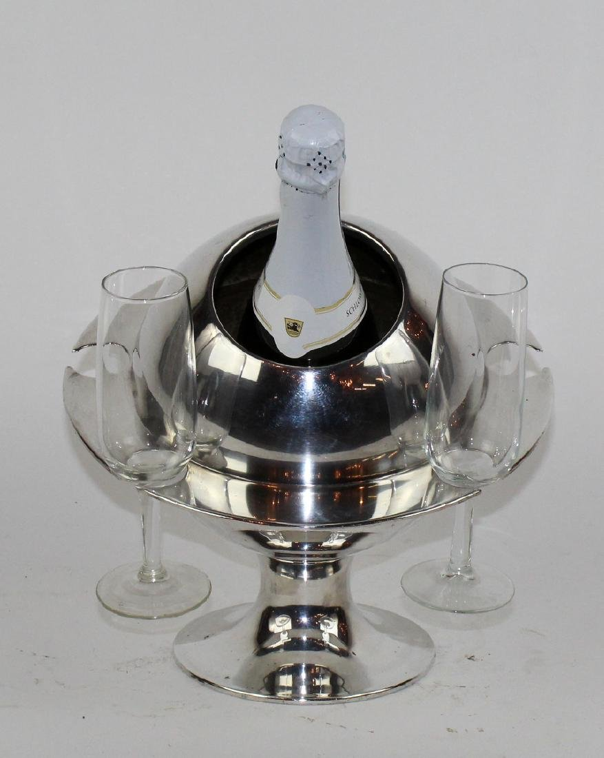 French silverplate champagne cololer. - 7