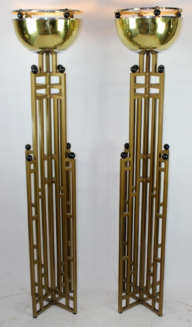 Pair of Art Deco brass skyscraper torchieres