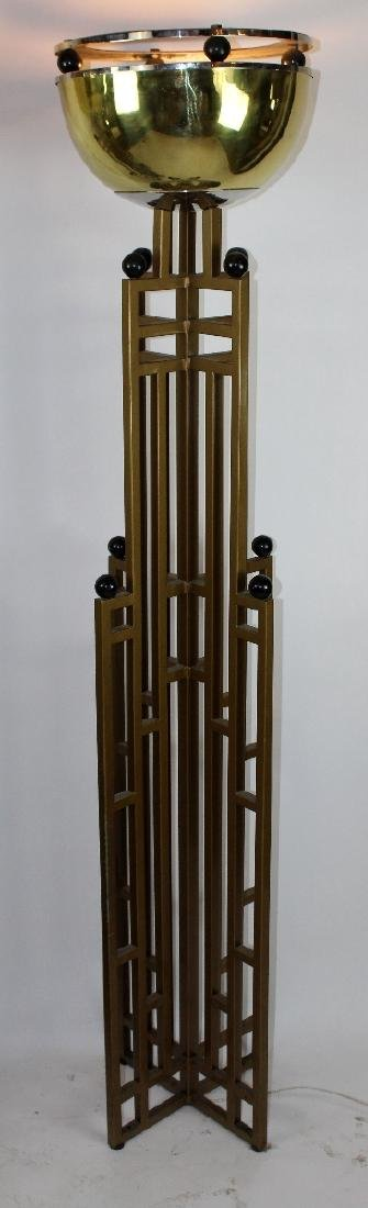 Pair of Art Deco brass skyscraper torchieres - 2