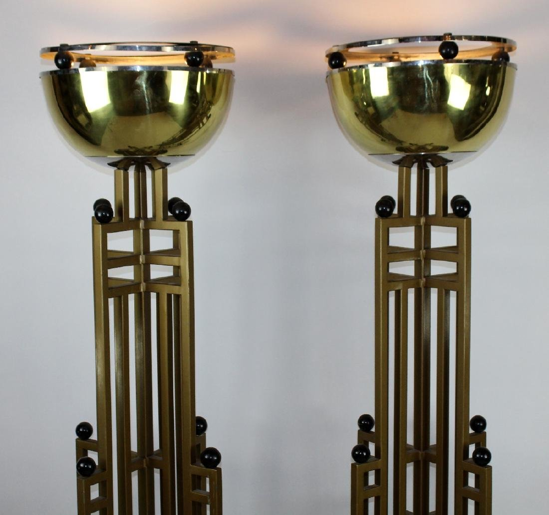 Pair of Art Deco brass skyscraper torchieres - 3
