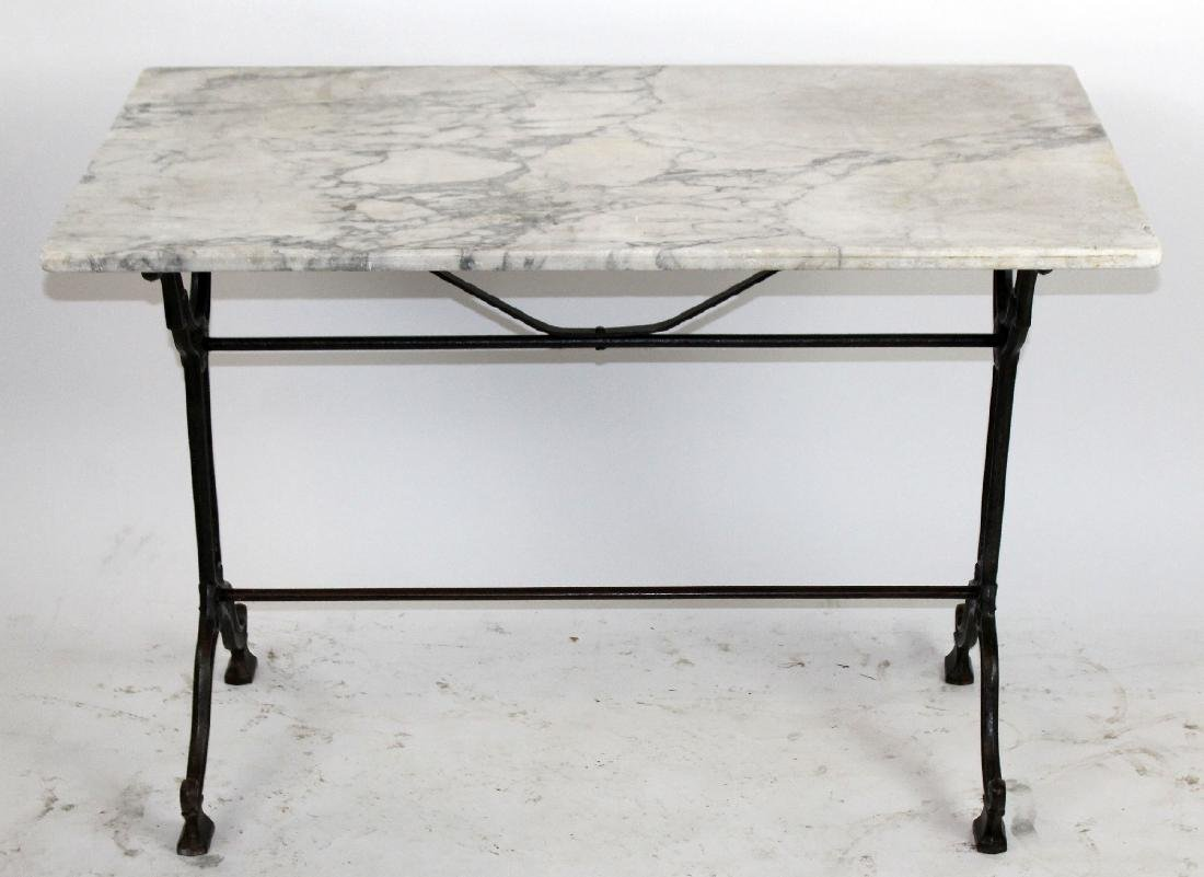 French Cafe table with cast iron base & marble top