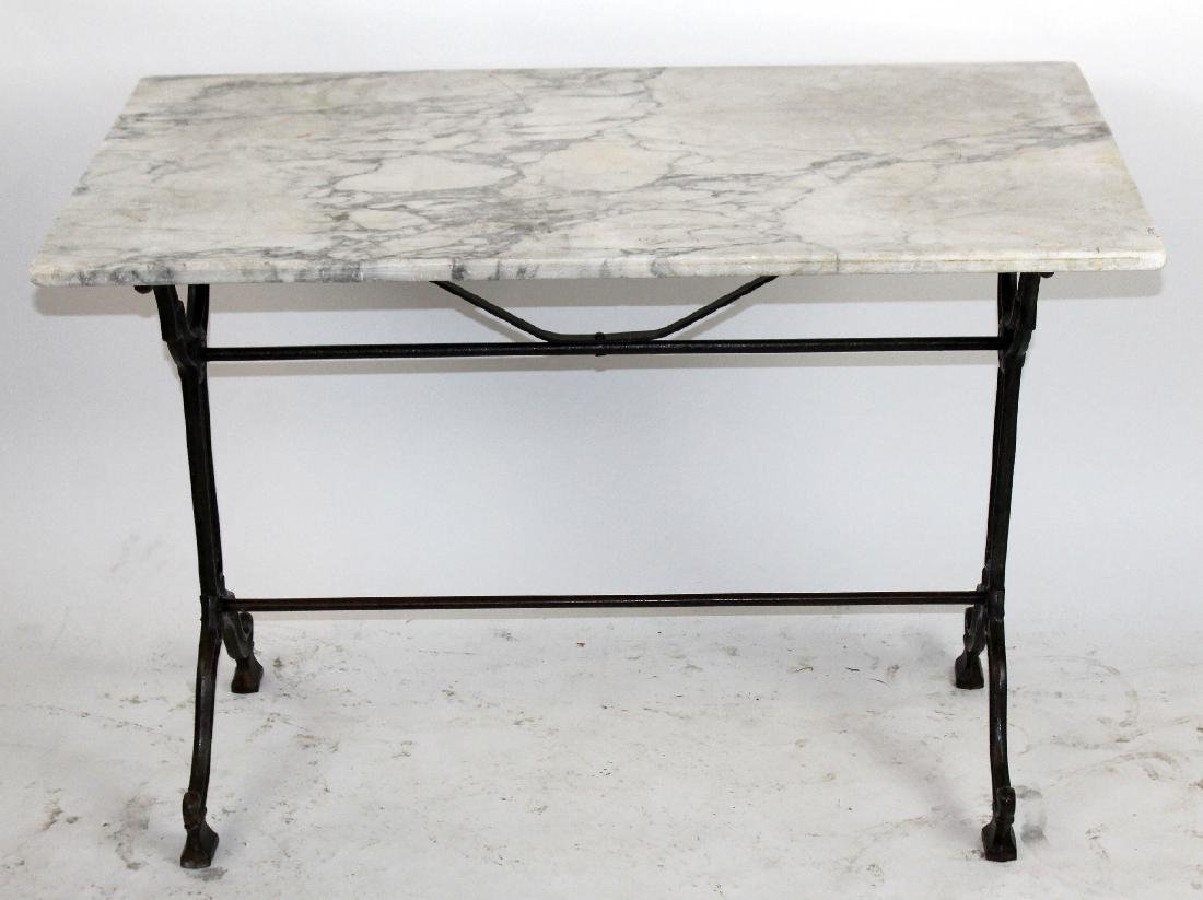 French Cafe table with cast iron base & marble top - 3