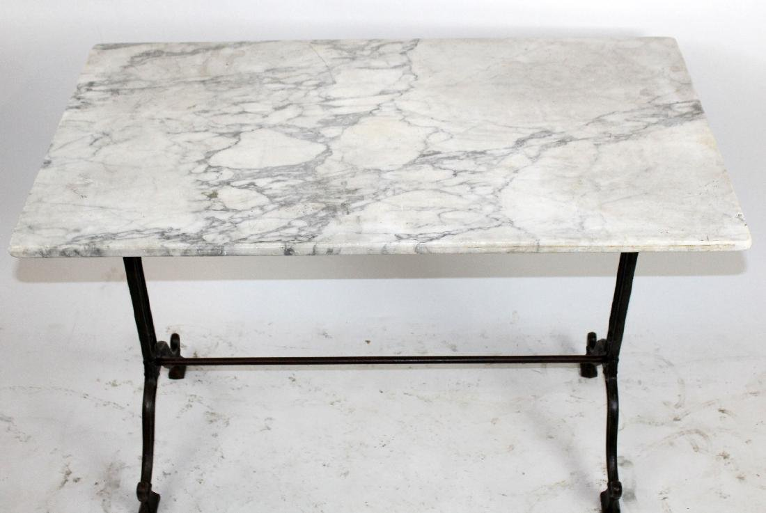 French Cafe table with cast iron base & marble top - 4