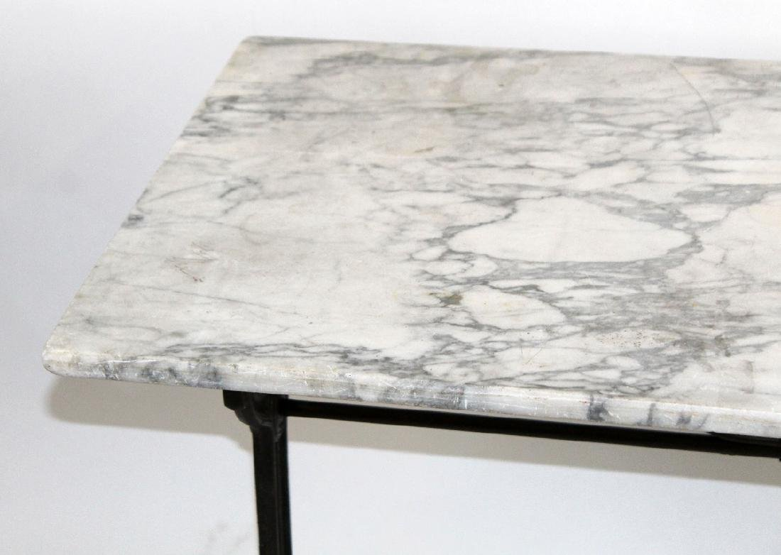 French Cafe table with cast iron base & marble top - 5