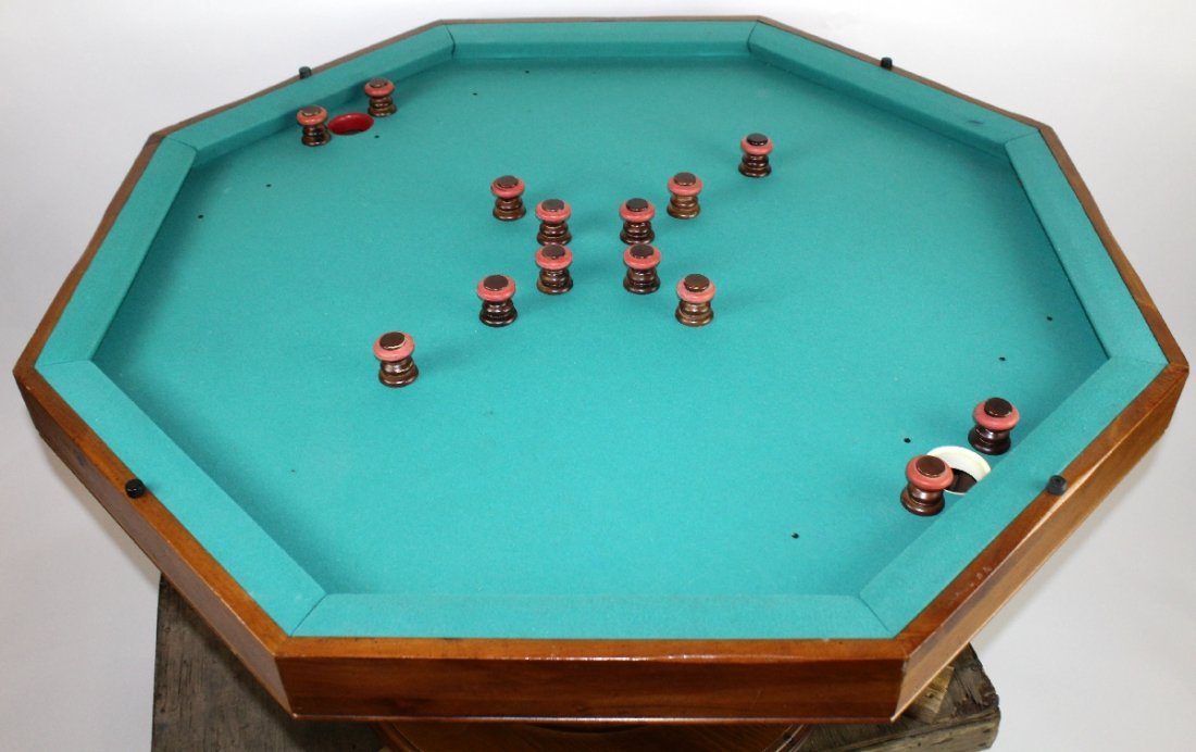 Vintage octagonal top bumper pool table - 2