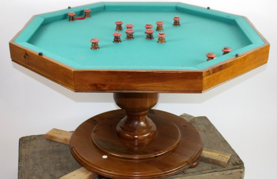 Vintage octagonal top bumper pool table - 3