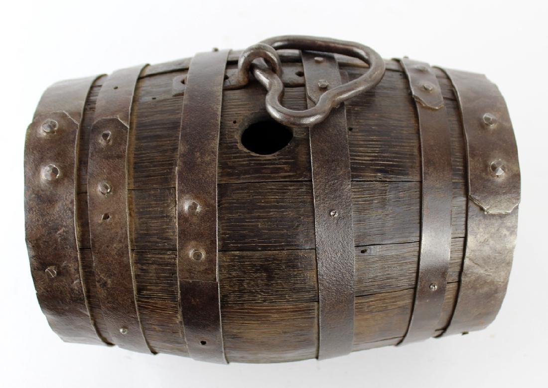 French wood & iron mini wine barrel - 2