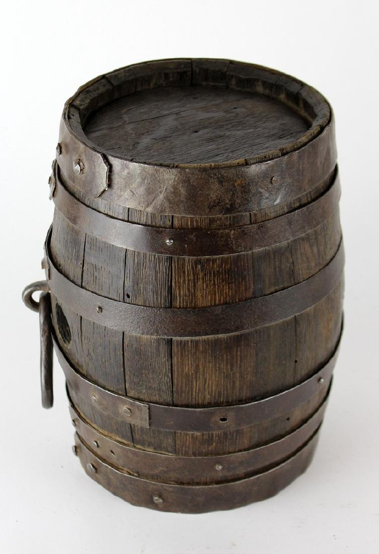 French wood & iron mini wine barrel - 3