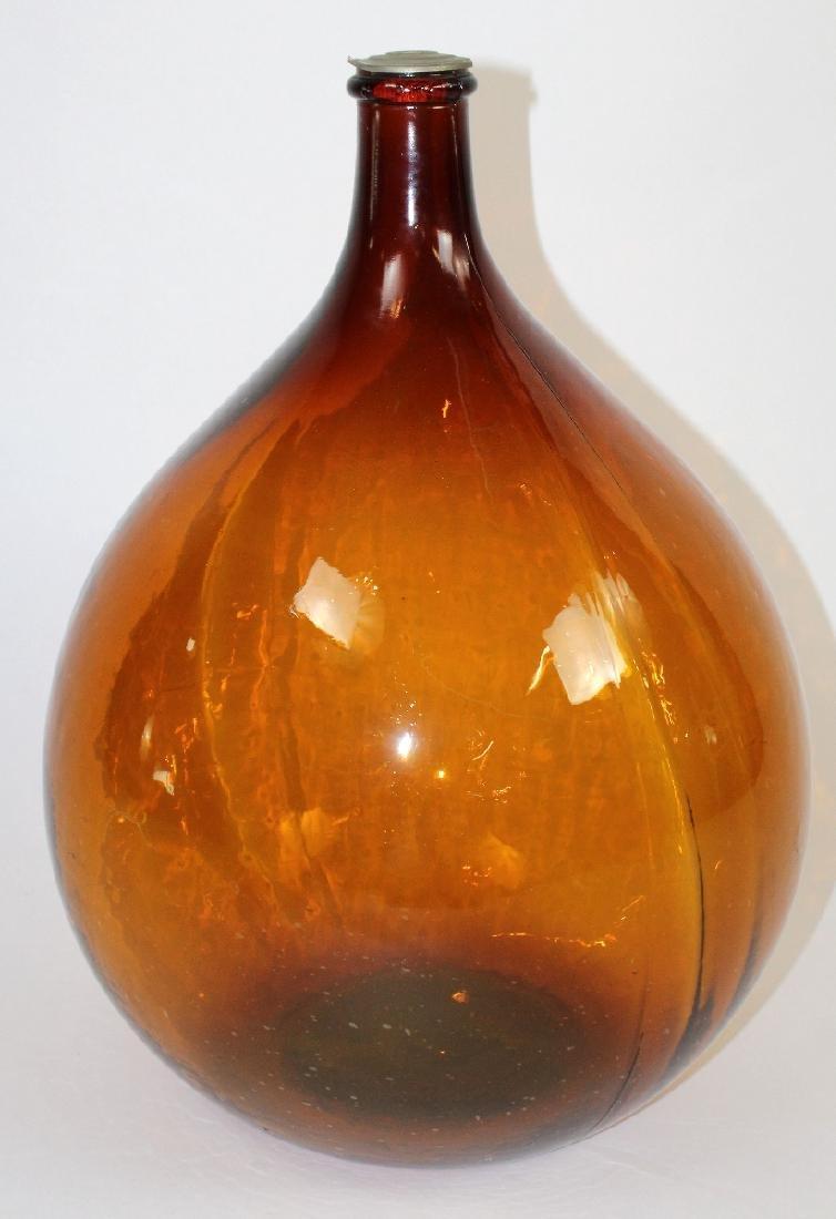 French amber glass demi-john wine bottle