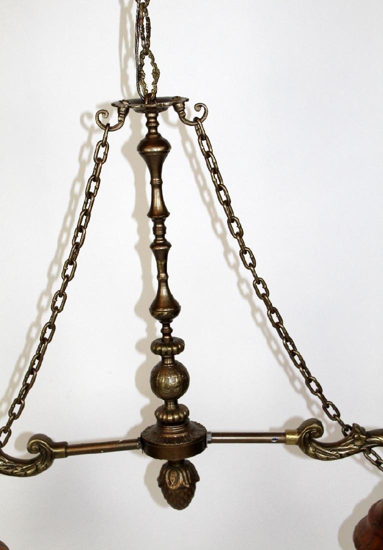 Bronze 2-light chandelier with alabaster shades - 3