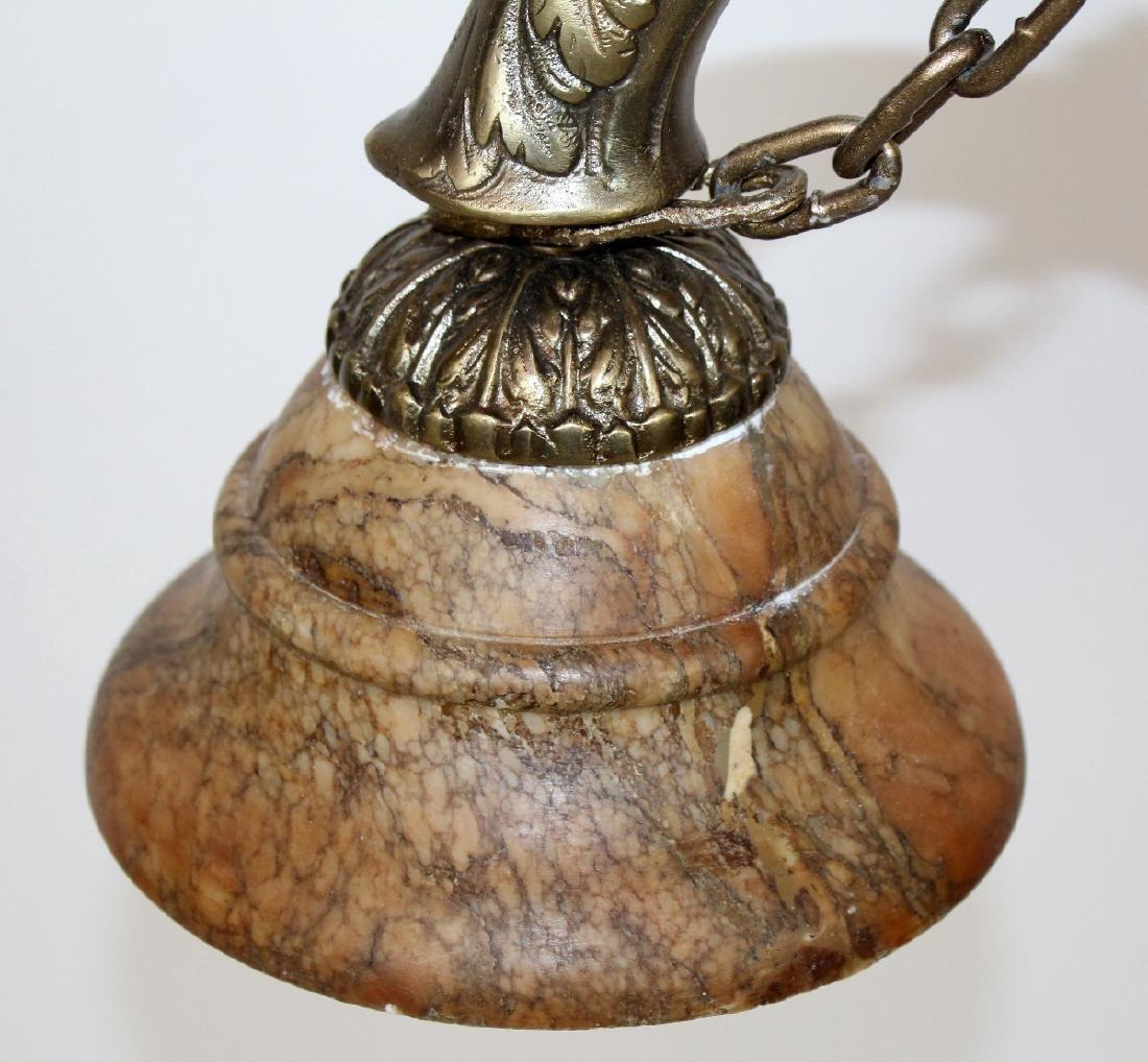 Bronze 2-light chandelier with alabaster shades - 4