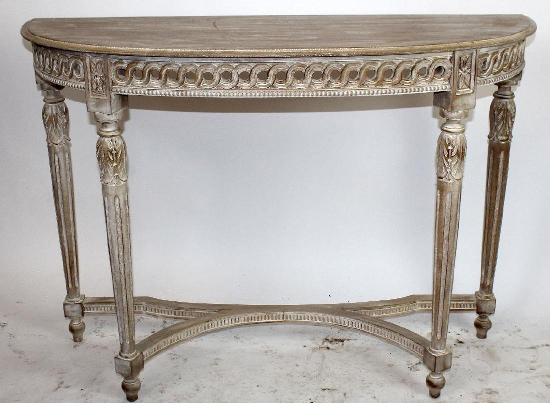 Carved and white washed demi-lune console - 2