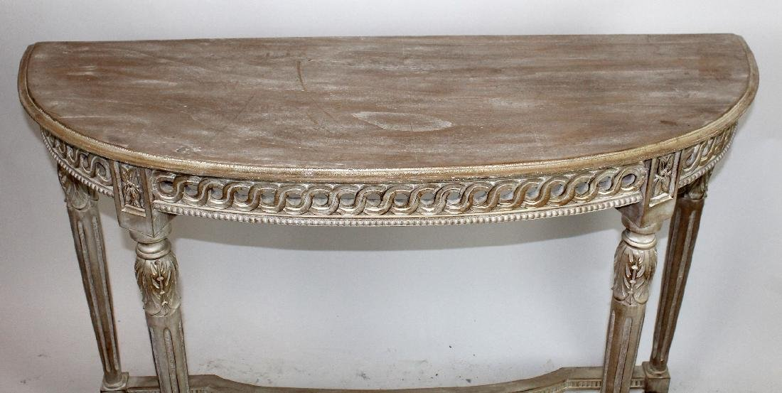 Carved and white washed demi-lune console - 3