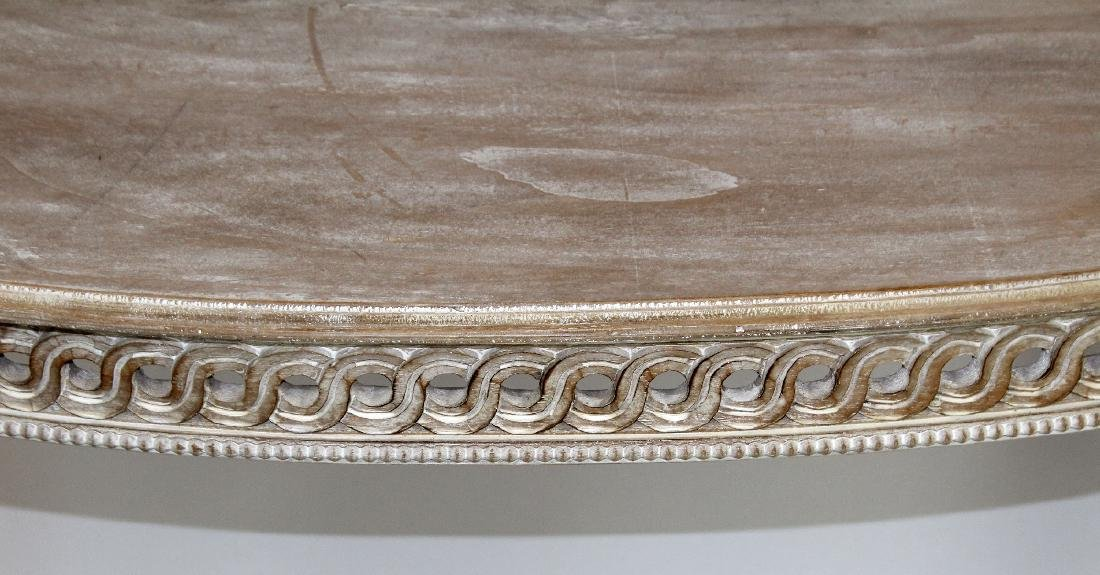 Carved and white washed demi-lune console - 4