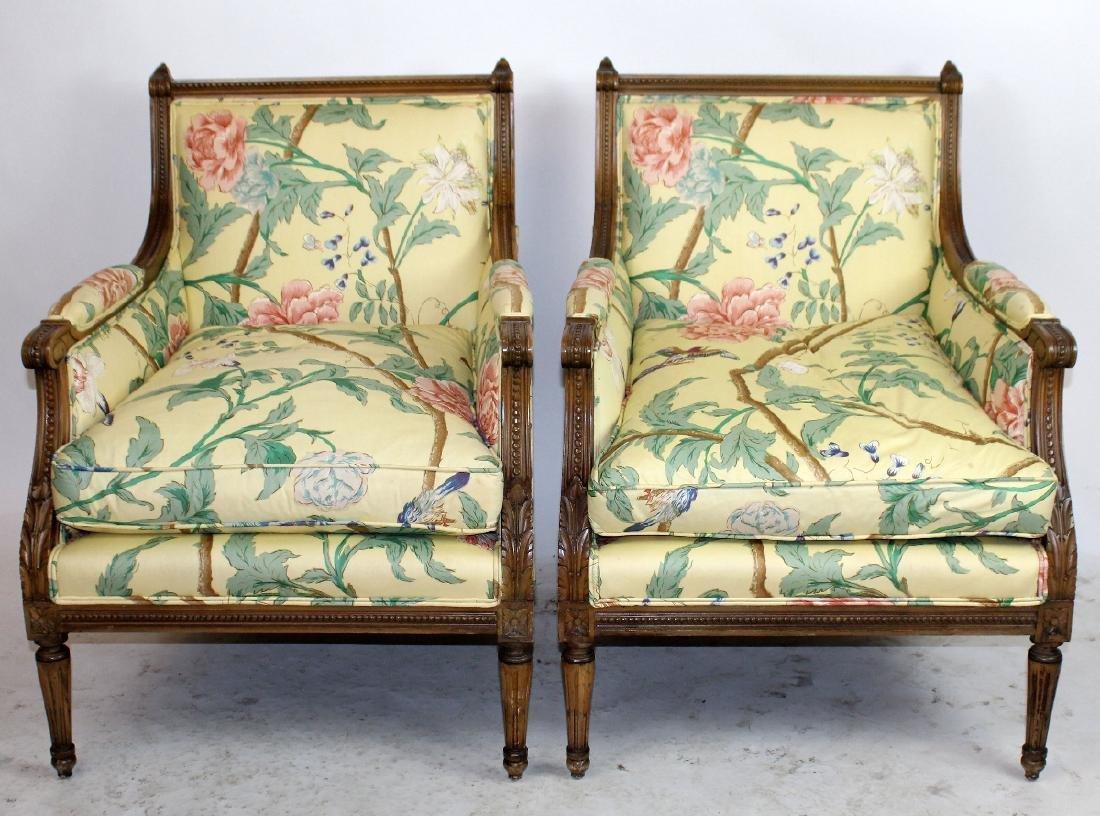 Pair of Louis XVI style bergeres