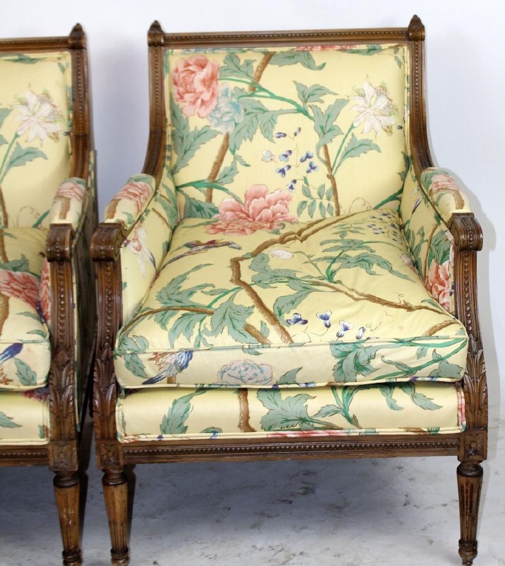 Pair of Louis XVI style bergeres - 3