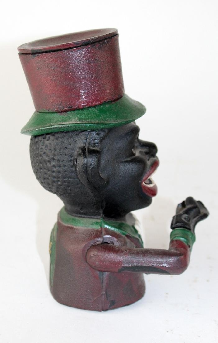 """Painted cast iron """"Jolly Negro"""" bank - 5"""
