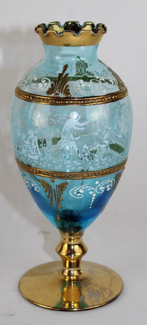 Bohemian painted glass vase