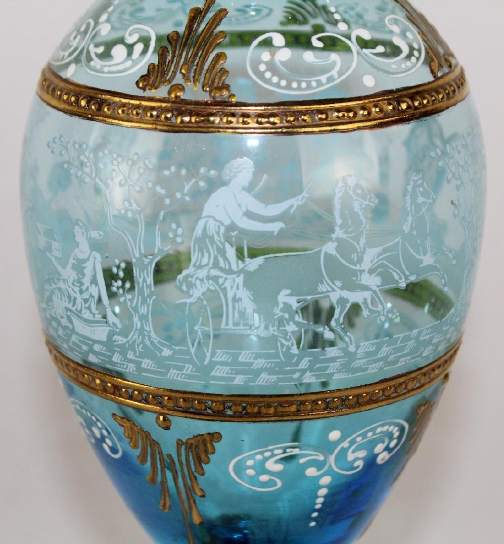 Bohemian painted glass vase - 3