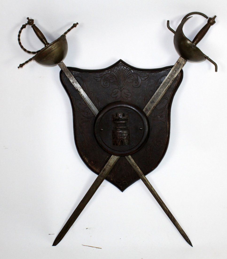 French armorial coat of arms with crossed swords