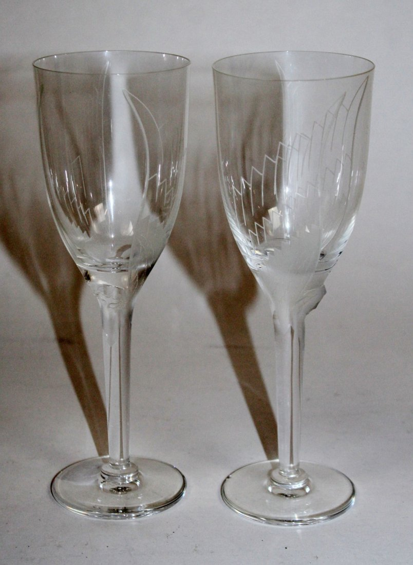 Pair of Lalique Angel champagne flutes