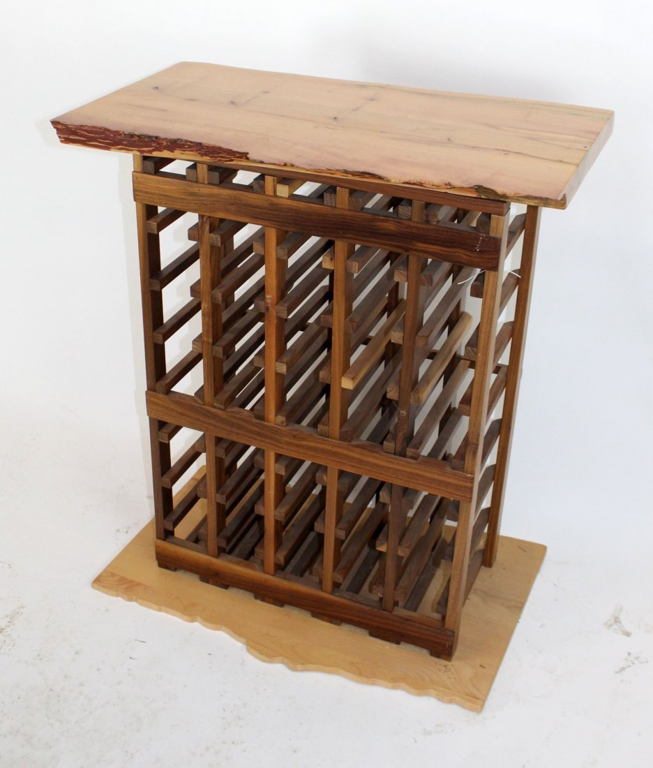 Wine rack with naturalistic top and base