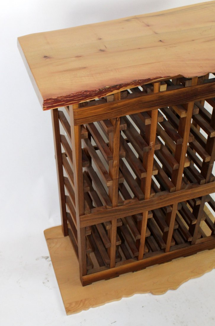 Wine rack with naturalistic top and base - 2