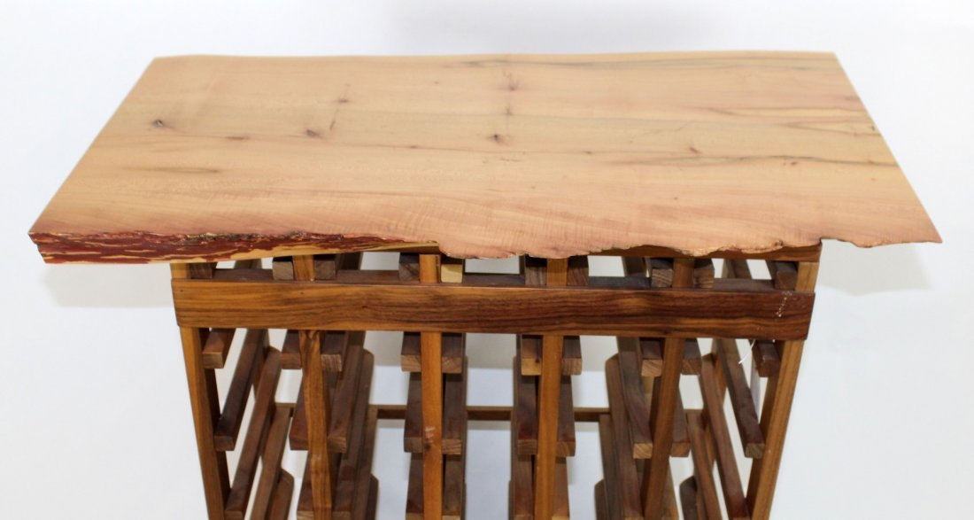 Wine rack with naturalistic top and base - 3