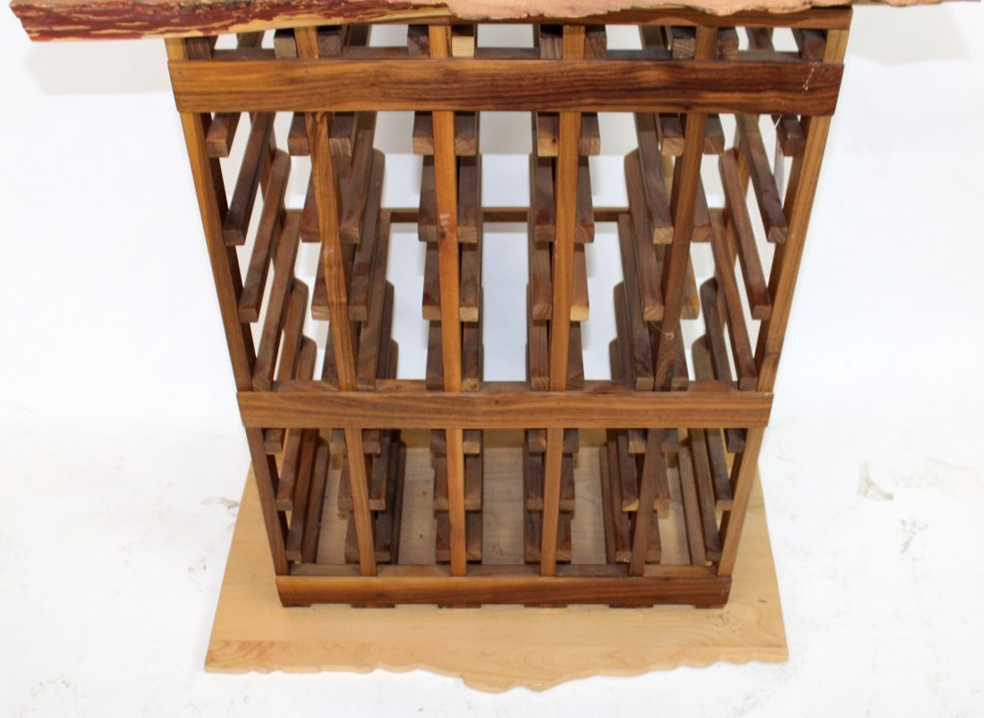 Wine rack with naturalistic top and base - 4