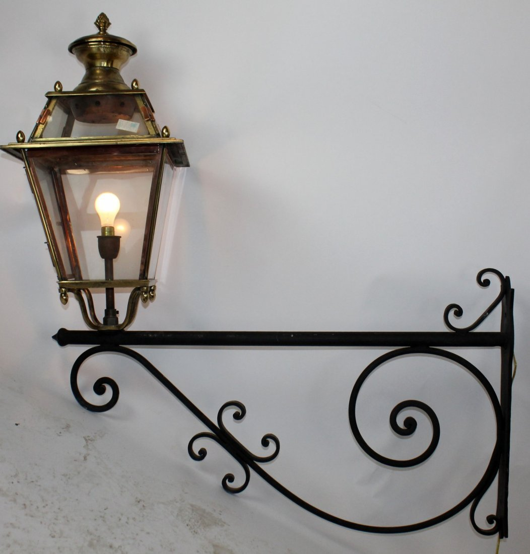 French brass and copper lantern