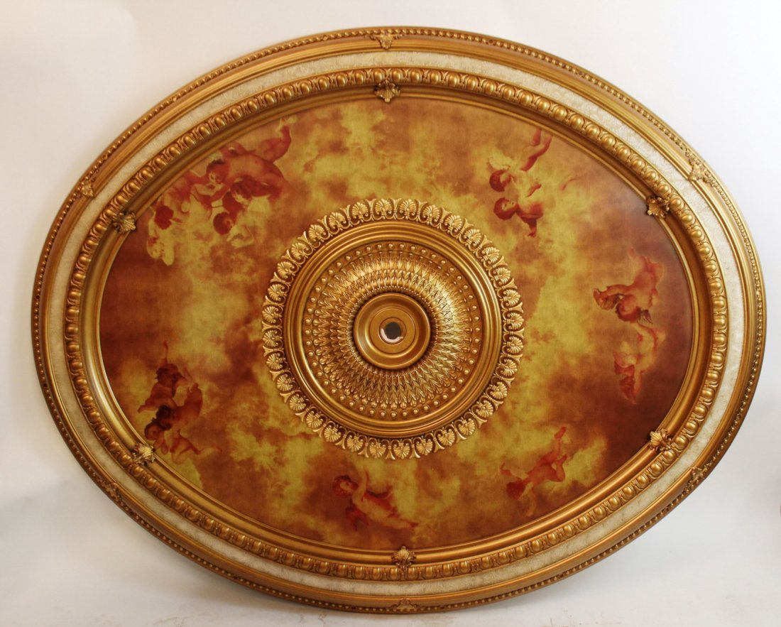 Large scale oval ceiling medallion with cherubs