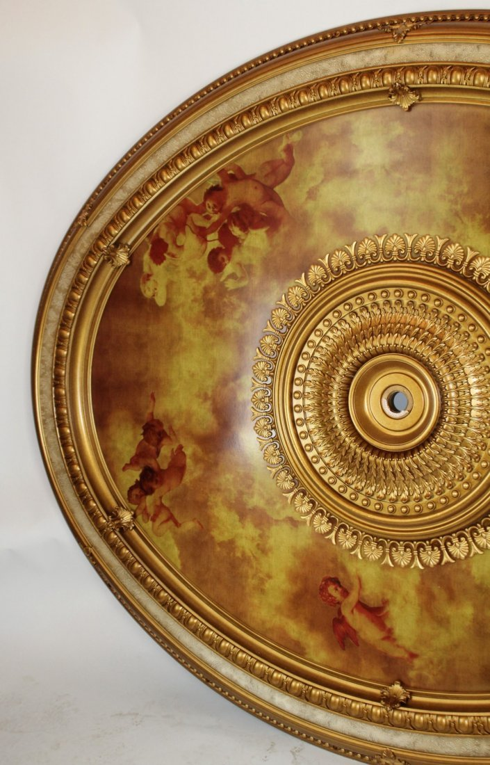 Large scale oval ceiling medallion with cherubs - 2