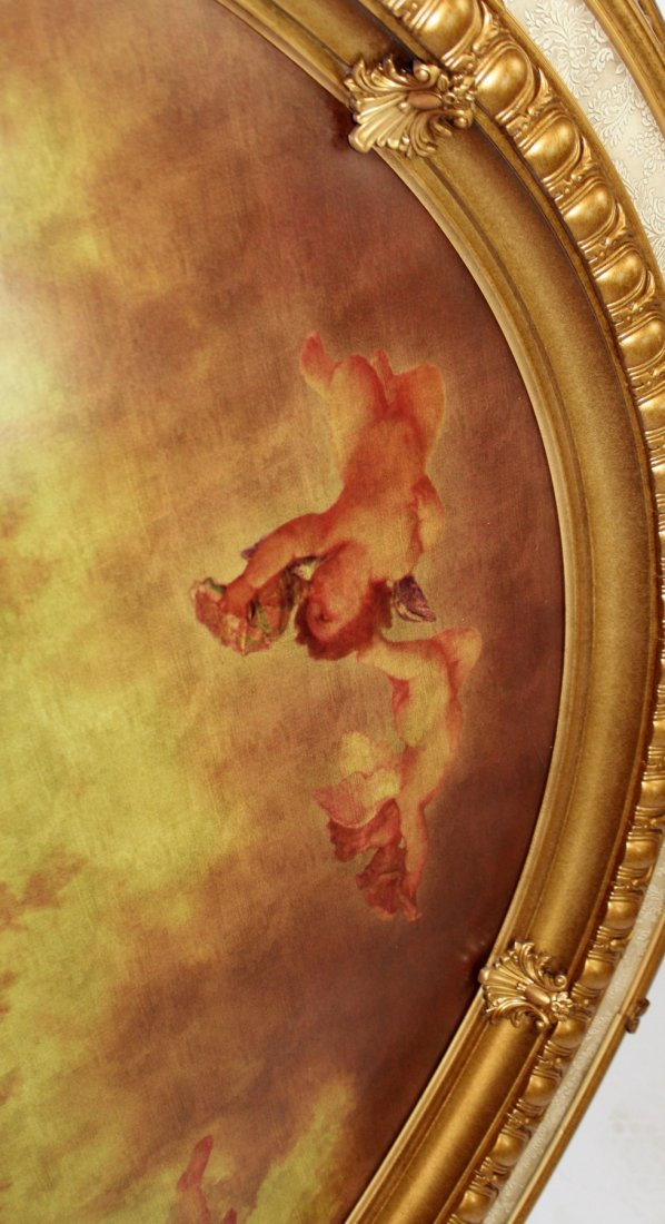 Large scale oval ceiling medallion with cherubs - 3