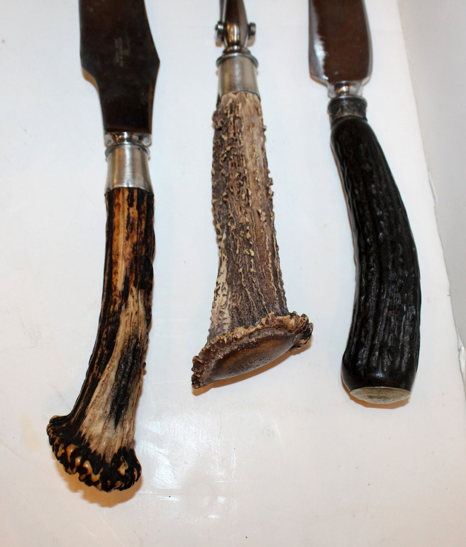 Stainless steel carving set with antler handles - 2