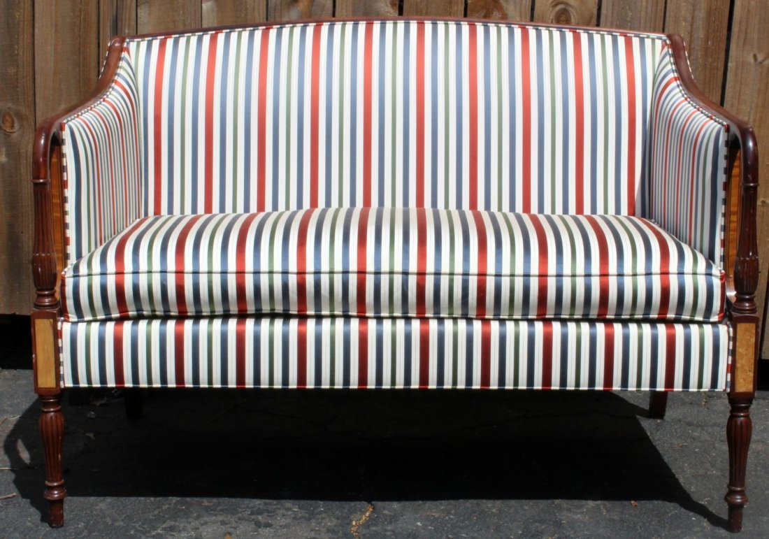American mahogany settee with fluted legs