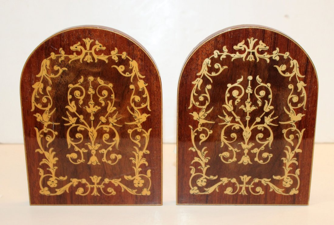 Pair of Italian marquetry bookends